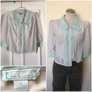 Cropped white and green button up top 3/4 sleeve